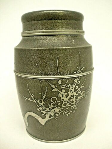 Antique Chinese Tea Caddy Engraved Cherry Blossom Tree Pewter Tea Holder Signed