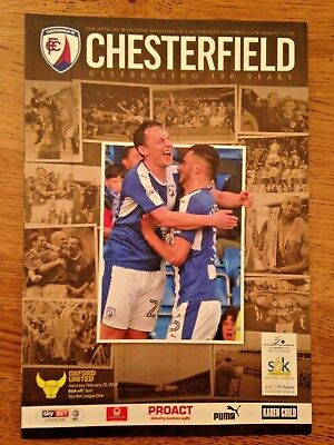 Chesterfield v Oxford United - League 1- 25th February 2017 - Football Programme
