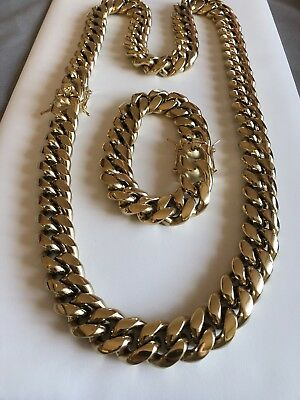 18mm Men Cuban Miami Link Bracelet Kilo Chain Set 14k Gold Over Stainless Steel
