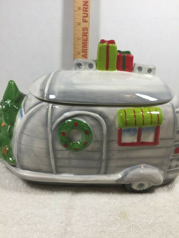 Gibson Home Ceramic Christmas Holiday Camper Cookie Jar