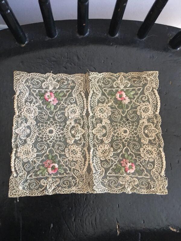 "Antique French Net Lace Bobbin Doily 9"" X 8 1/2"" Lace"