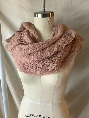 Blue Star Clothing Dusty Rose Infinity Scarf Loose Knit Scalloped Pink