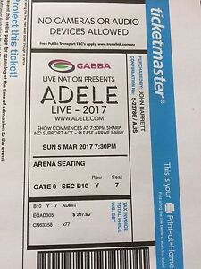 Adele ticket - 5th March Brisbane New Farm Brisbane North East Preview