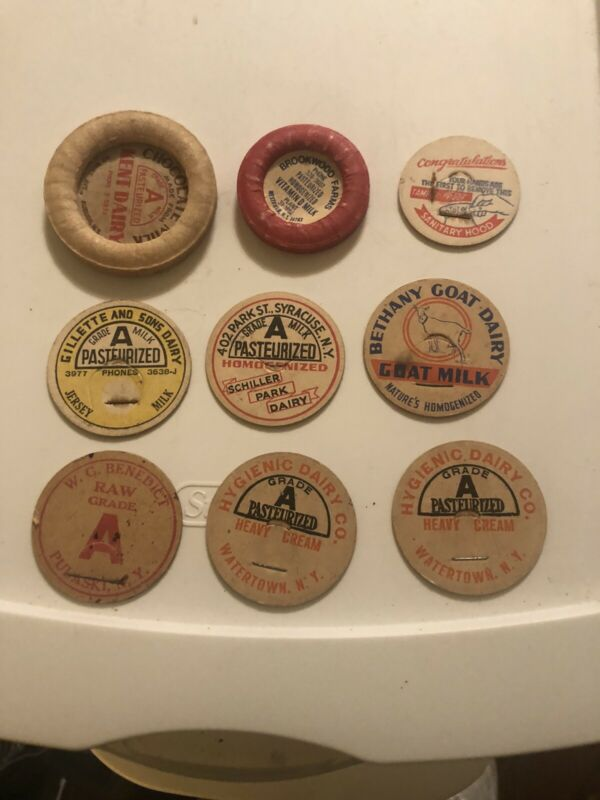 Collection Lot Of Nine Vintage Milk Dairy Bottle Cardboard Tops Lids Labels