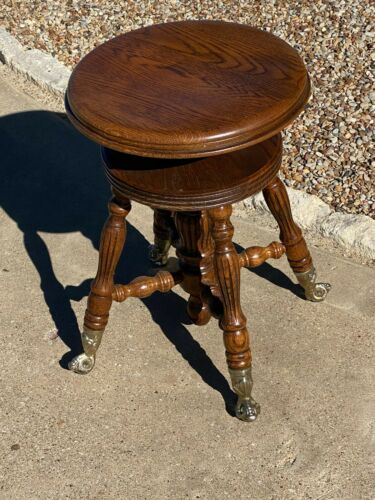 Vintage Oak Piano Stool / Vanity Chair w Glass Ball & Claw Feet /