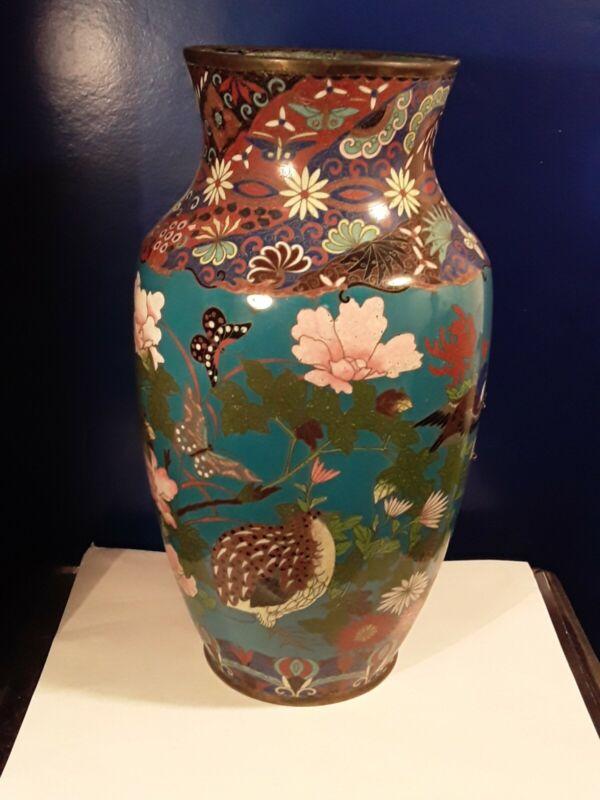"""Large 12"""" Antique Meiji Japanese Cloisonne Vase SIGNED As-Is"""