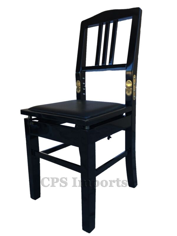 Ebony Adjustable Piano Chair Bench with Back