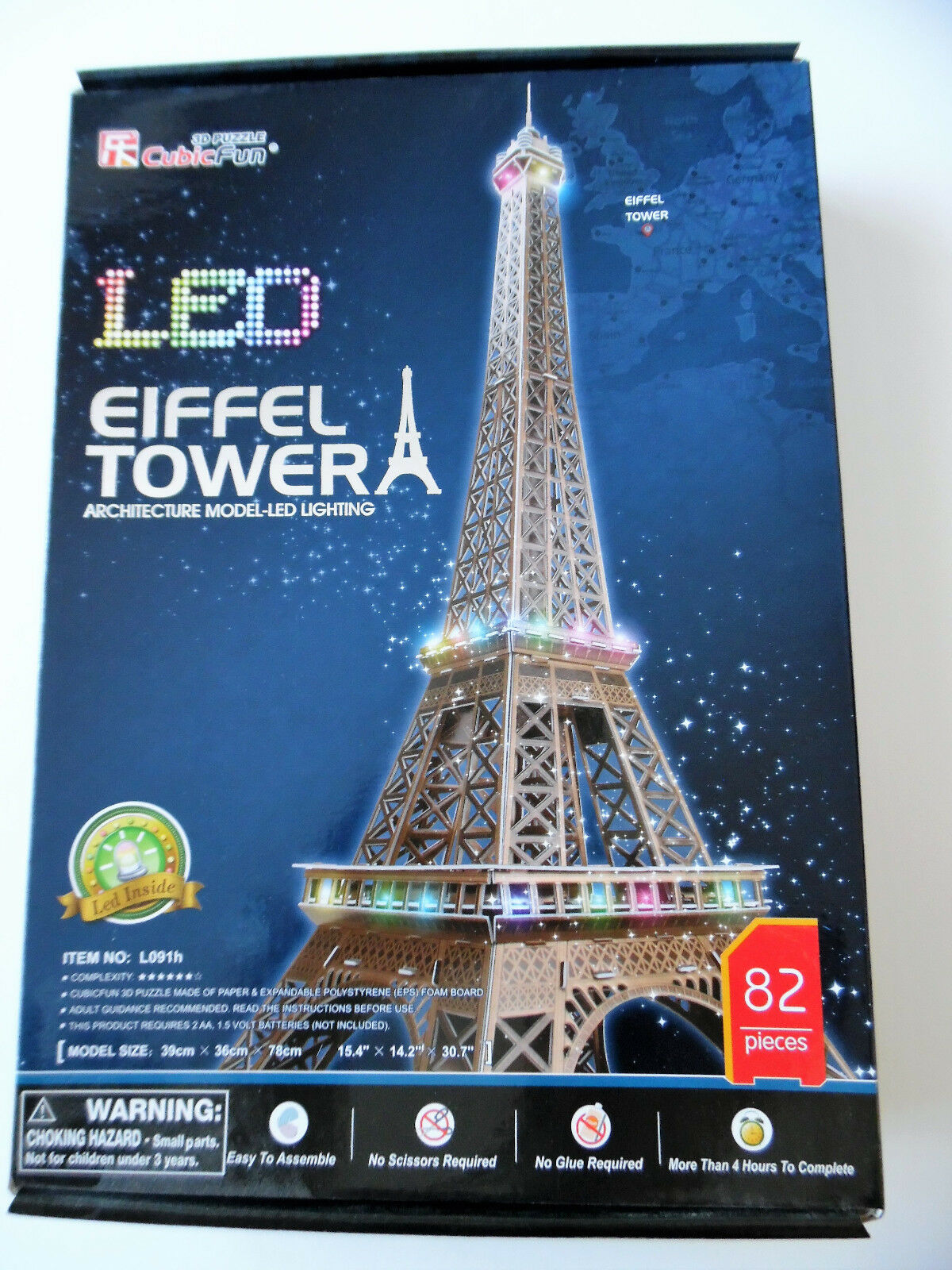 3D Puzzle Eiffelturm LED / 2.Wahl / Cubic Fun Eiffel Tower Paris Licht Light