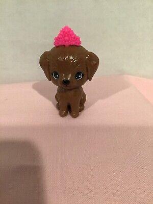 BARBIE CHELSEA DOLL PRINCESS ADVENTURE BROWN PUPPY DOG WITH PINK TIARA CROWN PET