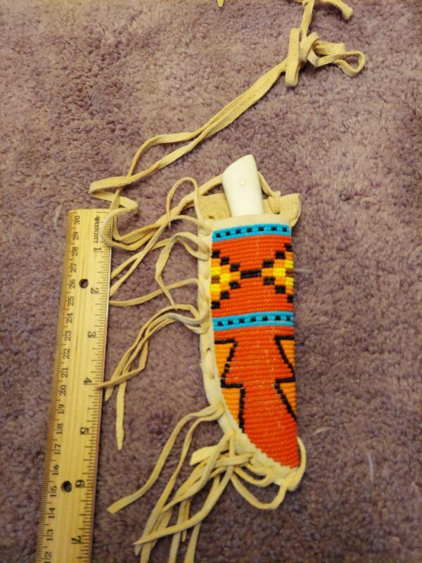 Native American Inspired Beaded Knife Sheath W/knife