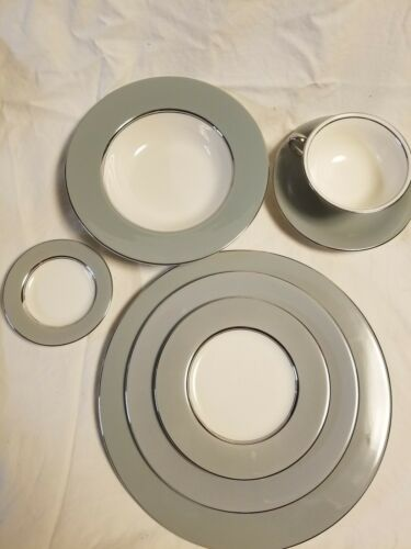 CASTLETON CHINA LYRIC PLATES, BOWLS, CUP AND SAUCER..GRAY Made in USA