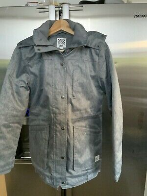 Mens Vans Grey Quilted Jacket With Faux Fur Removable Trim Hood Size S