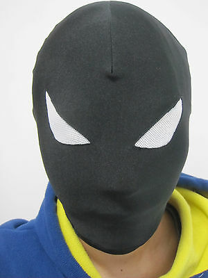 Halloween Lycra Spandex zentai costume all Mask/Hood black with white - White Eyes Halloween Costume