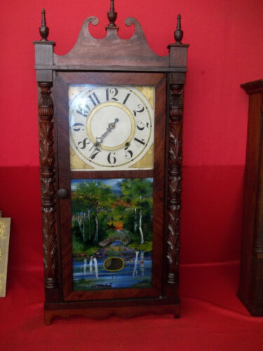 VERY NICE LOOKING 0LD SEYMOUR HALL, & CO.  WOOD WOODEN WORKS WEIGHT  CLOCK  !!!