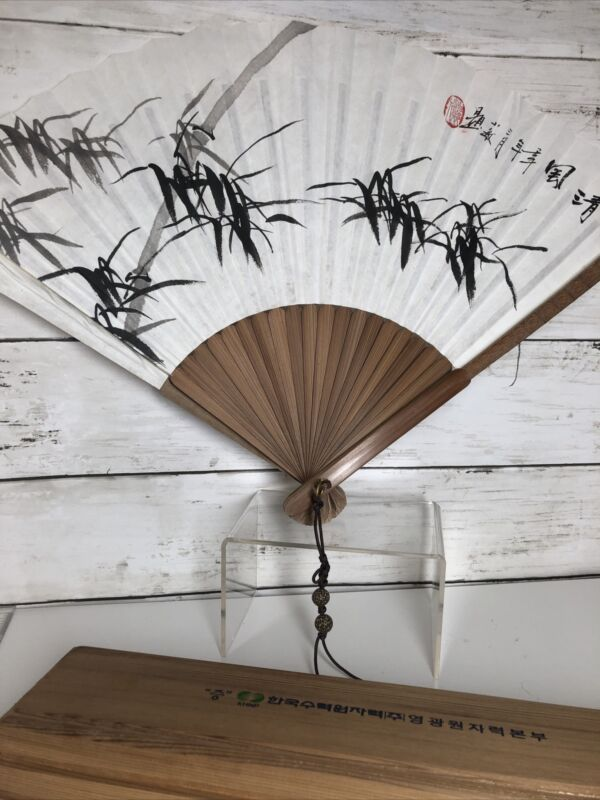 BEAUTIFUL Wooden Japanese Fan in Wooden Box ~ Incredible Design