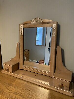 Beautiful Limed Pine Dressing Table Mirror with Drawers Vintage St Michael M&S