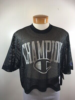 Champion Brand Mesh Logo Black Football Jersey Short Sleeve Size -
