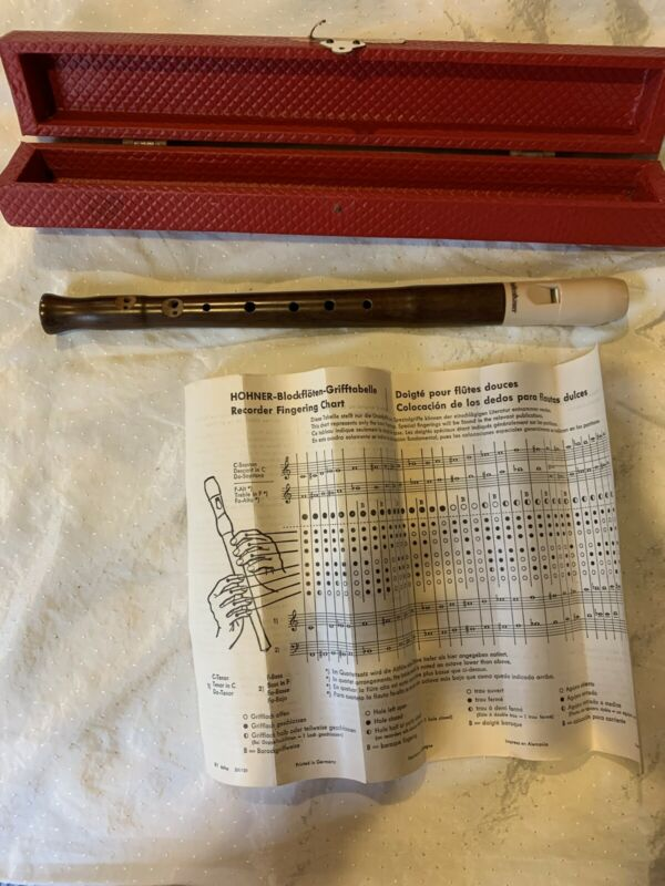 Mollenhauer Recorder With Box Directions 1 Piece Wooden Body Plastic Mouthpiece