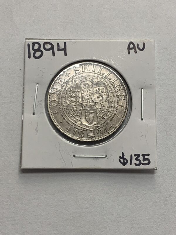 1894 Great Britain One Shilling Silver Coin ~ Victoria 3rd Portrait, Old Head