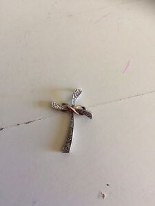 Silver diamond cross with infinity symbol necklace