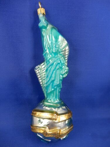 Patriotic Statue Of Liberty New York Glass Christmas Tree Ornament Poland 220074