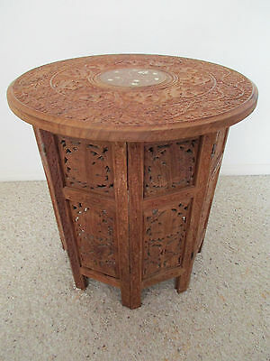 "Vintage 18"" Carved Wooden Accent Table From India"