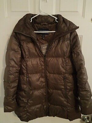 Womens Small (6-8) Petite Lands End Olive Lightweight Down A-Line Coat