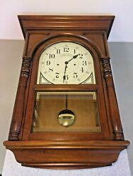 Howard Miller Wall Clock Westminster Chimes Runs? Model 612-309 Nice Wood Case