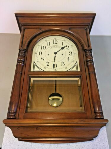 Howard Miller Wall Clock Westminster Chimes Runs? Model 612-309 Nice Wood Case
