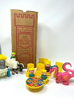 Vintage Fisher Price Play Family Castle w both original boxes and dragon #993