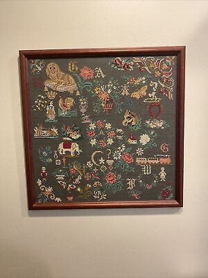 "Beautiful ""25 X 25"" vintage linen cross stitch sampler professionally framed"