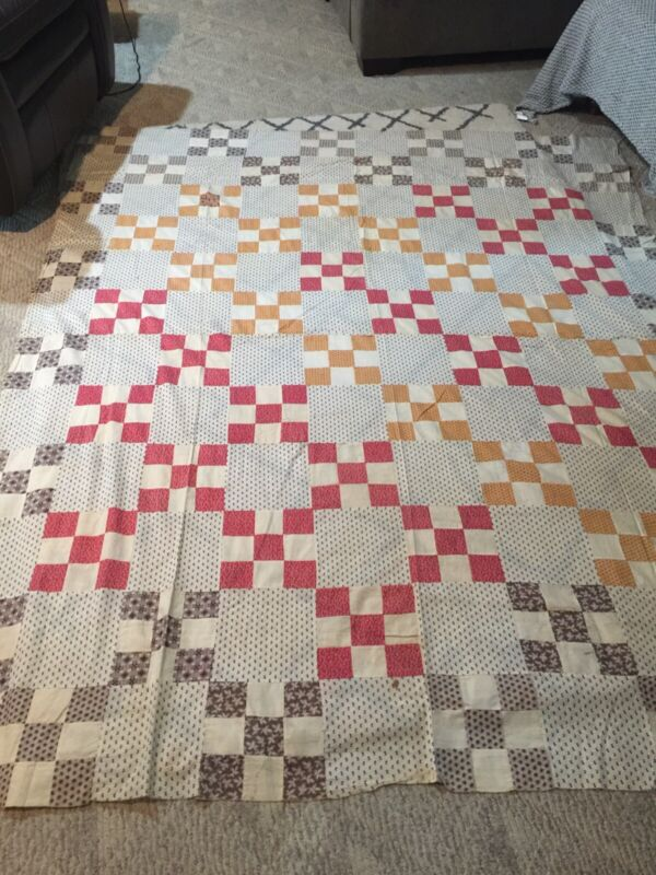 Quilt Top, Vintage, Unfinished, Size 83x69. Good Condition