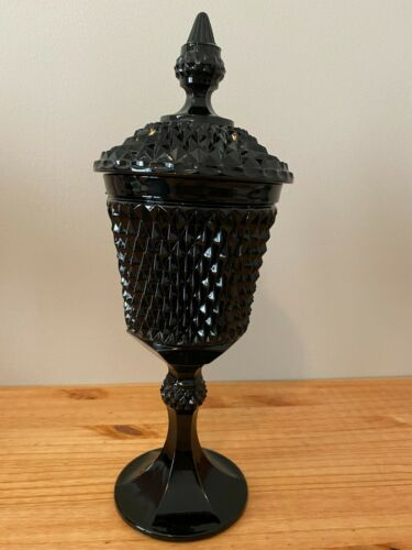 VINTAGE INDIANA GLASS TIARA BLACK DIAMOND POINT URN