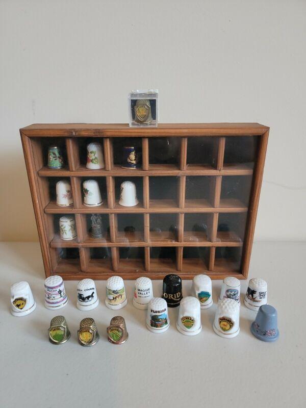 Lot Of 25 Thimbles In Wooden Display Case Vintage ceramic pewter metal wood
