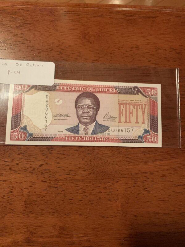 Liberia 50 Dollars 1999 UNC P. 24,  Banknote, Uncirculated