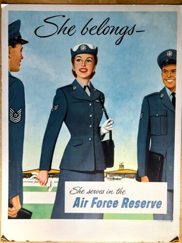 Vintage Original Wartime Air Force Reserves Recruiting Poster Women In Air Force