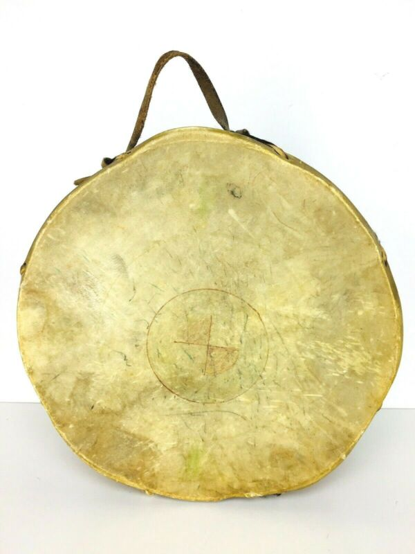 Antique Estate Native American Rawhide Animal Hide Fur Double Sided Drum