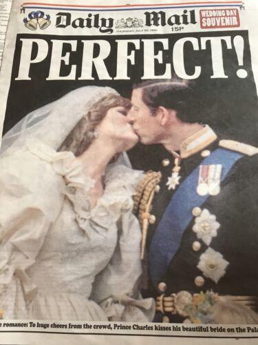 **ROYAL WEDDING 1981 DIANA CHARLES UK DAILY MAIL NEWSPAPER REPRODUCTION**