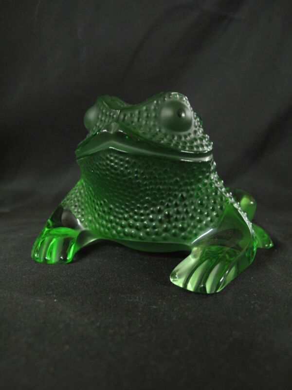 LALIQUE France Crystal Green GREGOIRE Toad FROG Figurine Sculpture Paperweight