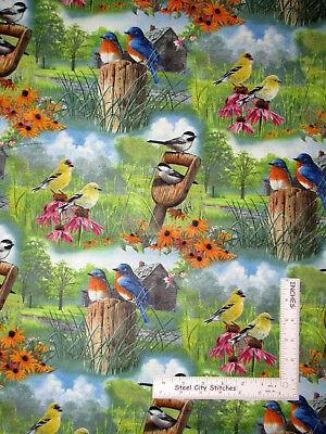 Garden Birds Bird Flower Floral Gardening Scenic Cotton Fabric By The Yard