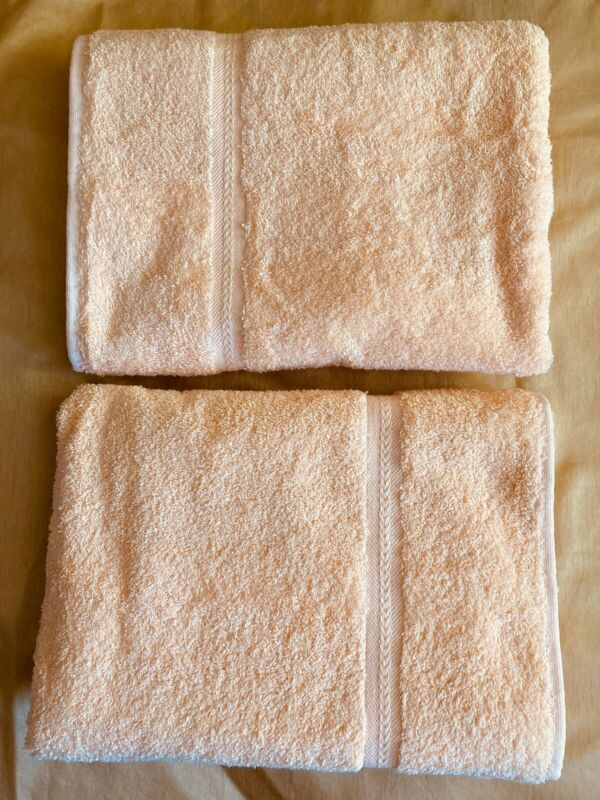 NWT VINTAGE 70s LOT OF 2 STEVENS~PEACH GLOW~BATH TOWELS 100% COTTON, MADE IN USA