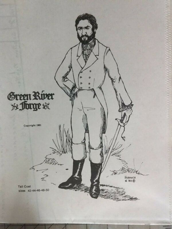 GREEN RIVER FORGE MENS EARLY 1800S TAIL COAT PATTERN OUT OF PRINT