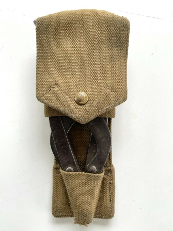 Original WW1 British WIRE CUTTERS w/ 1917 Dated POUCH P08 Webbing