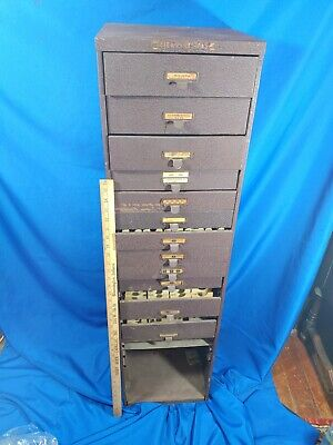 Antique-vtg Large 8 Drawer File Cabinet Machinist Library Watchmaker Watch
