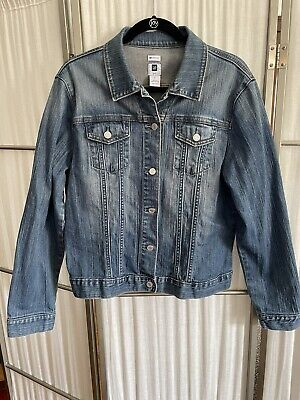 Gap Womens Jean Jacket Size Xl Stretch Med Wash Denim Euc