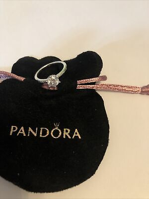 Pandora Clear Sparkling Crown Solitaire Ring Size 56 In Pandora Pouch