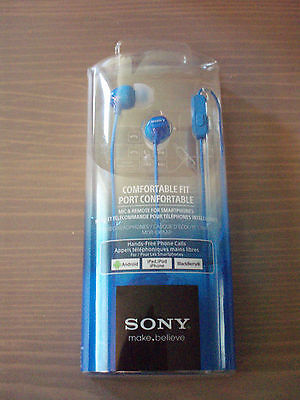 Ericsson Hands Free Microphone (Sony MDR-EX15AP Hands Free Headphones with Mic  Blue NWT for android  Iphone)