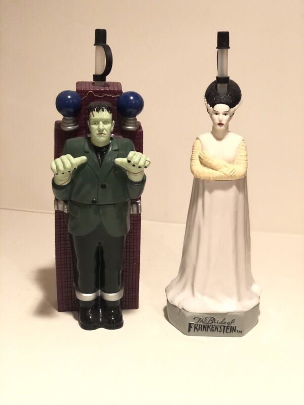 Frankenstein & Bride Full Figural Sipper Bottles 1998 Park Exclusives