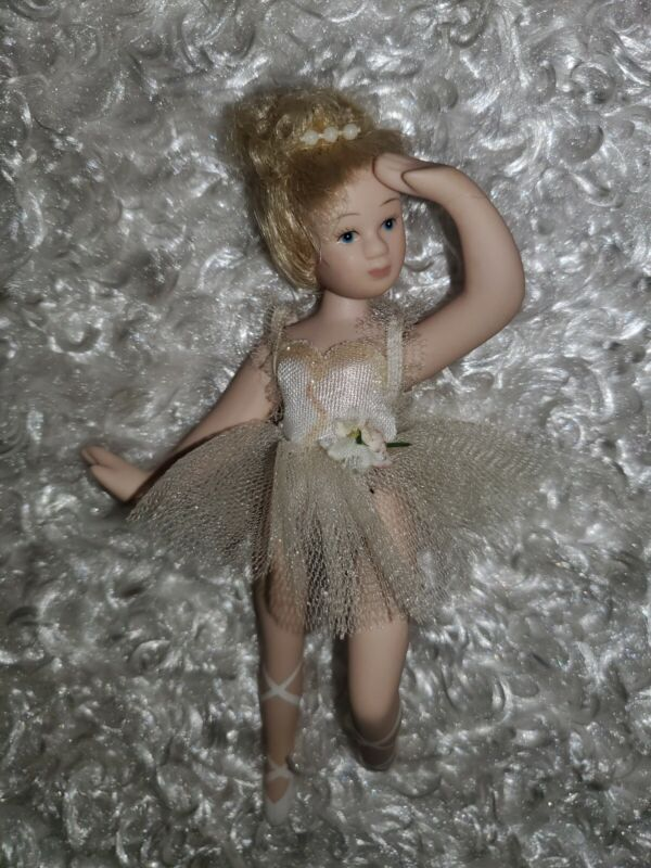 """Small Vintage Ceramic Ballerina Doll ~ 6"""" jointed, hand-painted, original outfit"""