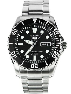 SEIKO SNZF17J1,Men's Sport,Automatic,Stainless steel,Rotating Bezel,date,100m WR